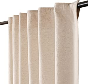 Linen Cotton Farmhouse Curtain 50x63inch Natural, Cotton Linen Curtains, 2 Panels Curtain,Tab Top Curtains, Room Darkening Drapes, Curtains for Bedroom, Curtains for Living Room,30% Linen,70%Cotton.