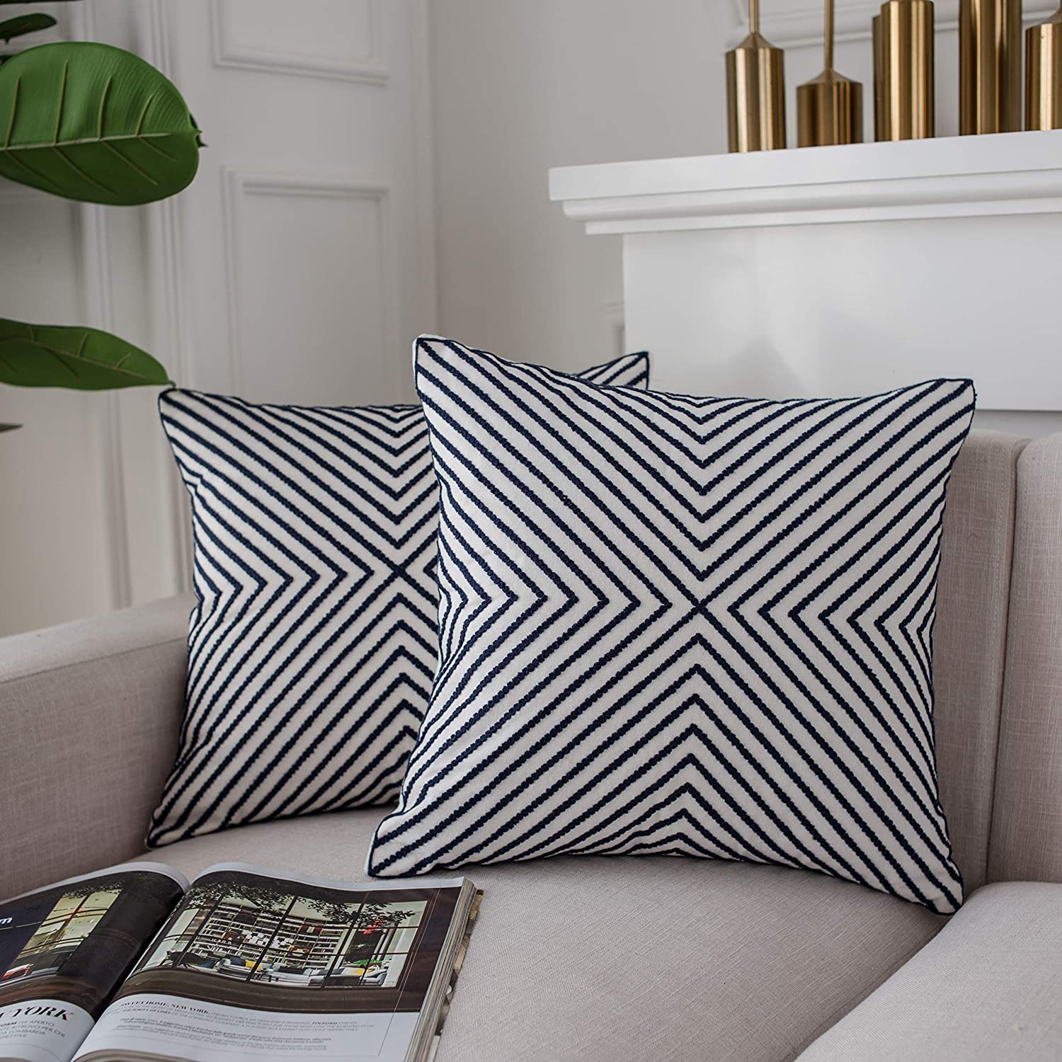 Amazon Com Lifonder Cotton Canvas Embroidered Cushion Covers Home Decor Accent Navy Blue Line Stripe Pattern Throw Pillow Cases For Couch Living Room Sofa Bedding 18x18 Inches Set Of 2 Home Kitchen