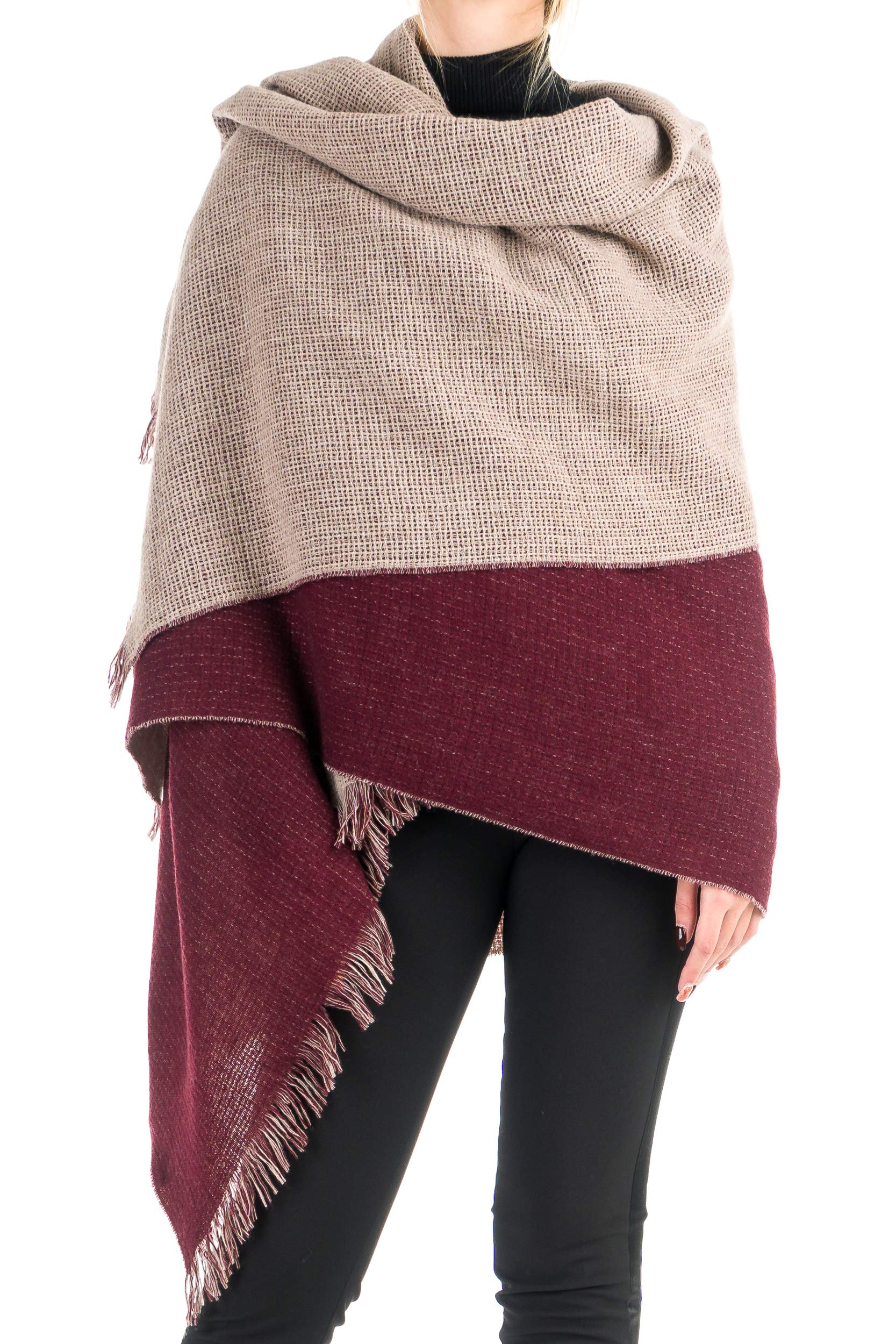 Angiola Made In Italy – Women's Winter Double Faced 100% Virgin Wool Scarf 100% Made In Italy – Soft, Warm (Beige, Bordeaux)