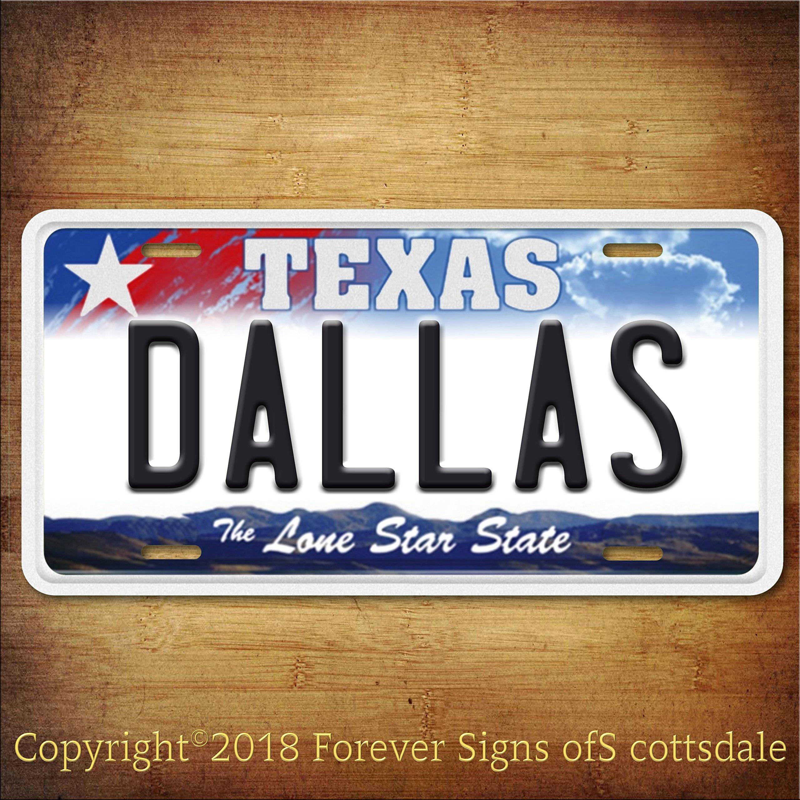 Dallas Texas City/College Aluminum Vanity License Plate