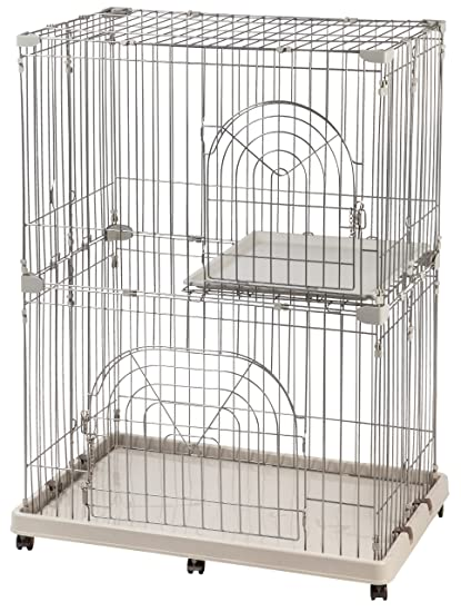 Wire Animal Cages | Amazon Com Iris 2 Tier Wire Pet Cage Gray Pet Cages Pet Supplies