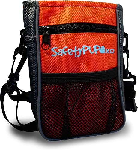 SafetyPUP XD Dog Treat Pouch for Training and Walking Dogs. Carry 3 Ways – Waist Belt, Clip On, or Shoulder Strap. Small, Durable Holder with Waste Poop Bag Dispenser and Reflectivity For Visibility