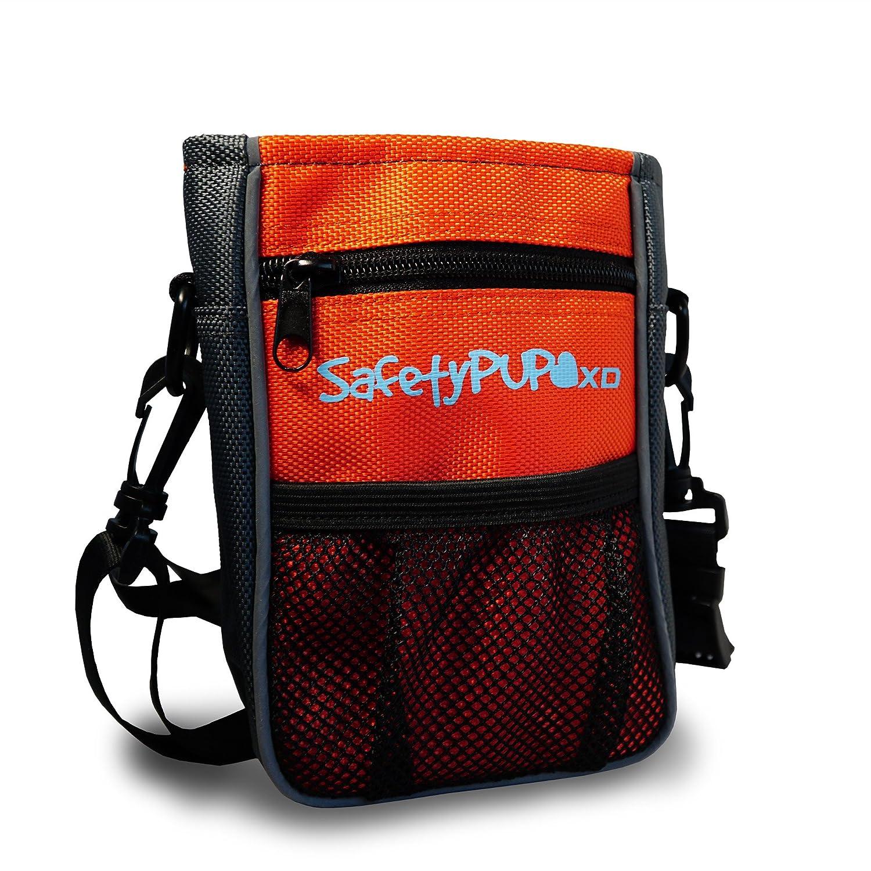 orange SafetyPUP XD Dog Treat Pouch. Belt, Clip Or Shoulder Carry Dog Treat Training Bag. Durable, Hi Vis Interior Dog Treat Bag with Integrated Poop Bag Dispenser and Secure Pouch Closure (orange)