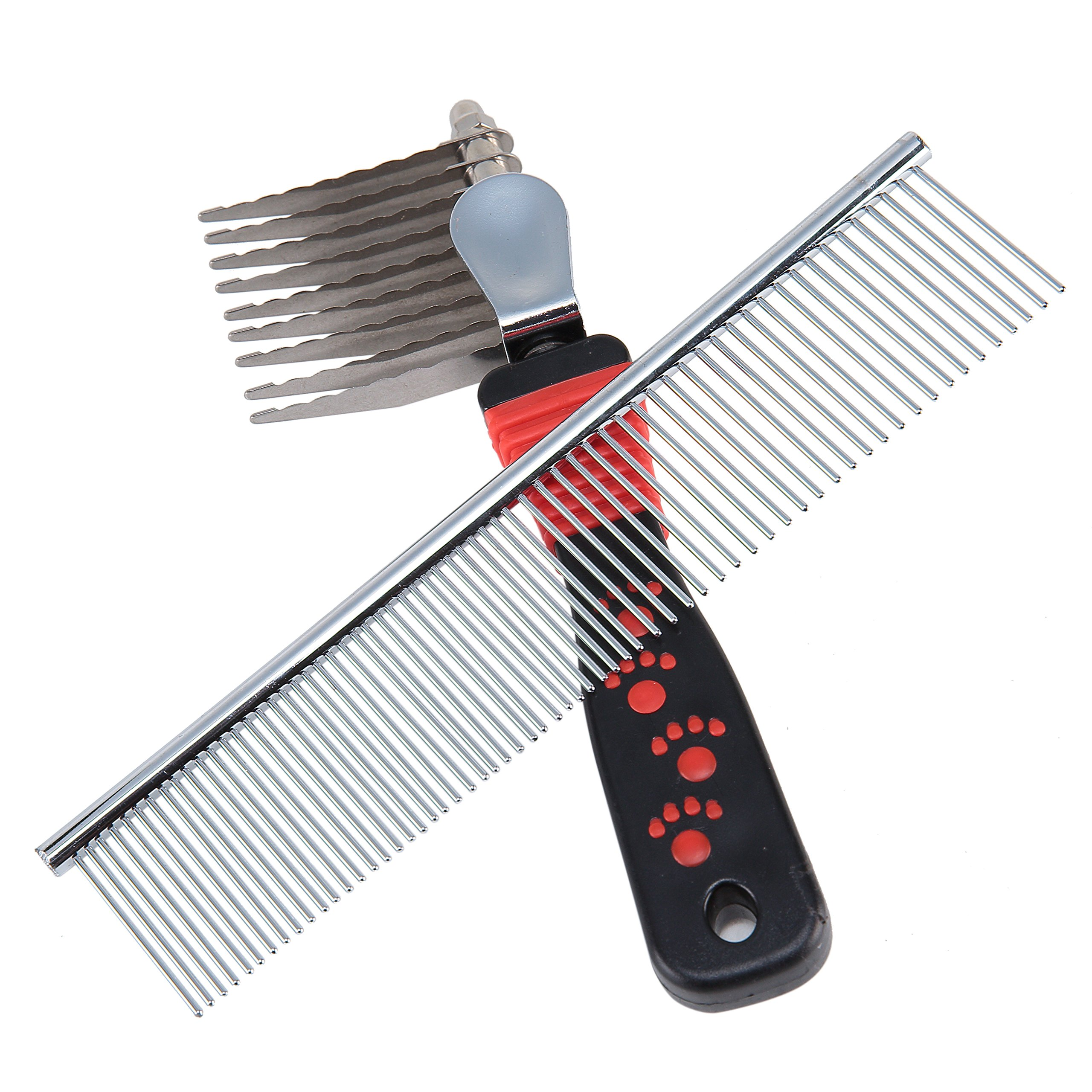 Sysrion Dog Comb, Pet Grooming Comb Tool - Dog Rake Comb Trimmer Stainless Steel Dog Comb with by Sysrion (Image #2)