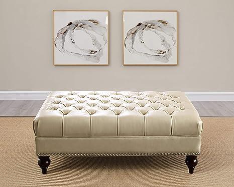 Terrific Hydeline Aliso 100 Leather Ottoman Ivory Beatyapartments Chair Design Images Beatyapartmentscom