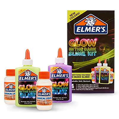 Elmer's Glow In The Dark Slime Kit | Slime Supplies Include Elmer'S Glow In The Dark Glue, Elmer'S Magical Liquid Slime Activator, 4 Piece Kit: Office Products