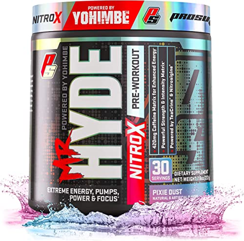 ProSupps Mr. Hyde NitroX Pre-Workout Powder Energy Nitric Oxide Boosting Drink, Intense Sustained Energy, Pumps Focus Powered by Yohimbe, Beta Alanine, Creatine Nitrosigine, 30 True Servings