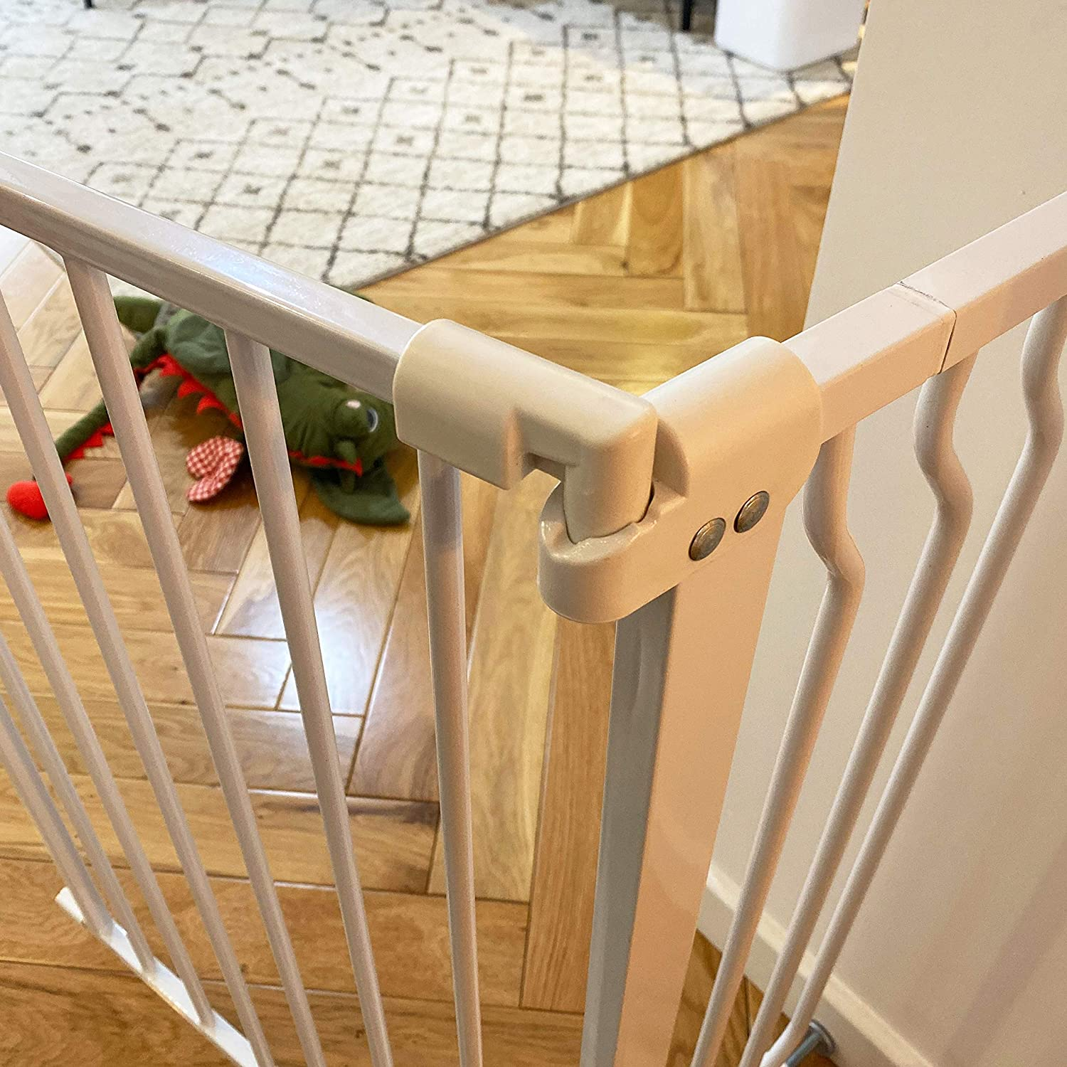 Multiple Sizes BalanceFrom Easy Walk-Thru Safety Gate for Doorways and Stairways with Auto-Close//Hold-Open Features