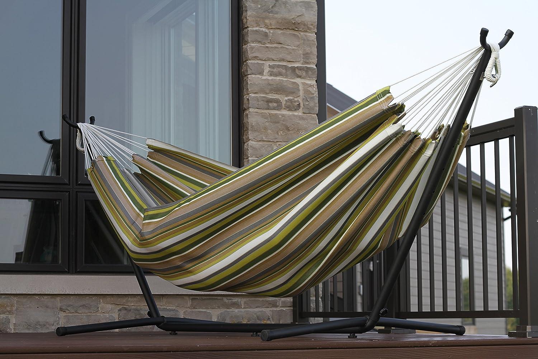 Vivere Double Sunbrella Hammock & 9' Steel Stand - Limelight