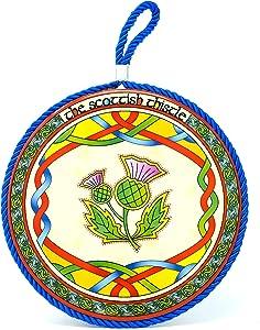 Royal Tara Scottish Thistle Rope Plaque Ceramic Pot Stand - 7'' Diameter