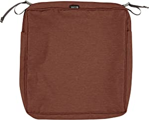 Classic Accessories Montlake Water-Resistant 19 x 19 x 3 Inch Square Outdoor Seat Cushion Slip Cover, Patio Furniture Chair Cushion Cover, Heather Henna Red
