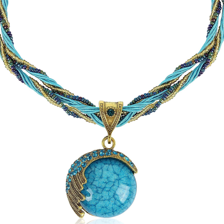 Signore-Signori Handmade Antique Retro Sueño Half Moon Collar, Bisutería Vintage