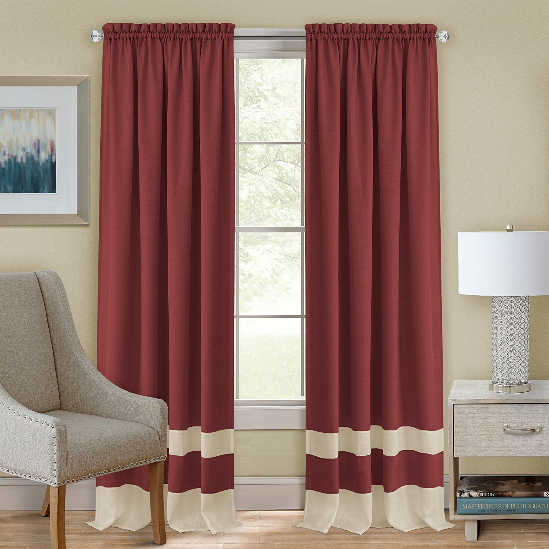 Burgundy Achim Home Furnishings Fairfield Window in a Bag Black /& White Rod Pocket Panel 52 x 63 55 84-Inch
