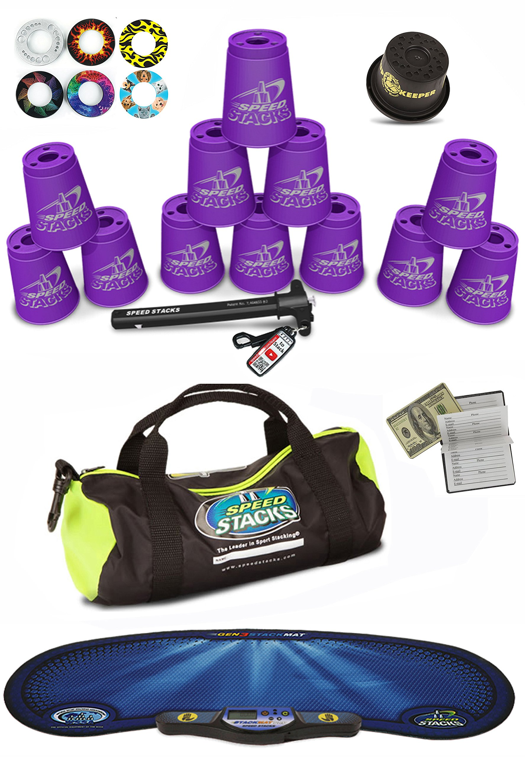 Speed Stacks Custom Combo Set - The Works: 12 PURPLE 4'' Cups, Cup Keeper, Quick Release Stem, Pro Timer, Gen 3 Mat, Snap Tops, Gear Bag + FREE Bonus: $100 Design Magnetic Credit Card Size Address Book by Speed Stacks