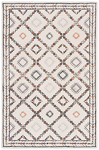 Safavieh Bellagio Collection BLG548A Ivory and Multi Premium Wool Area Rug 4 x 6