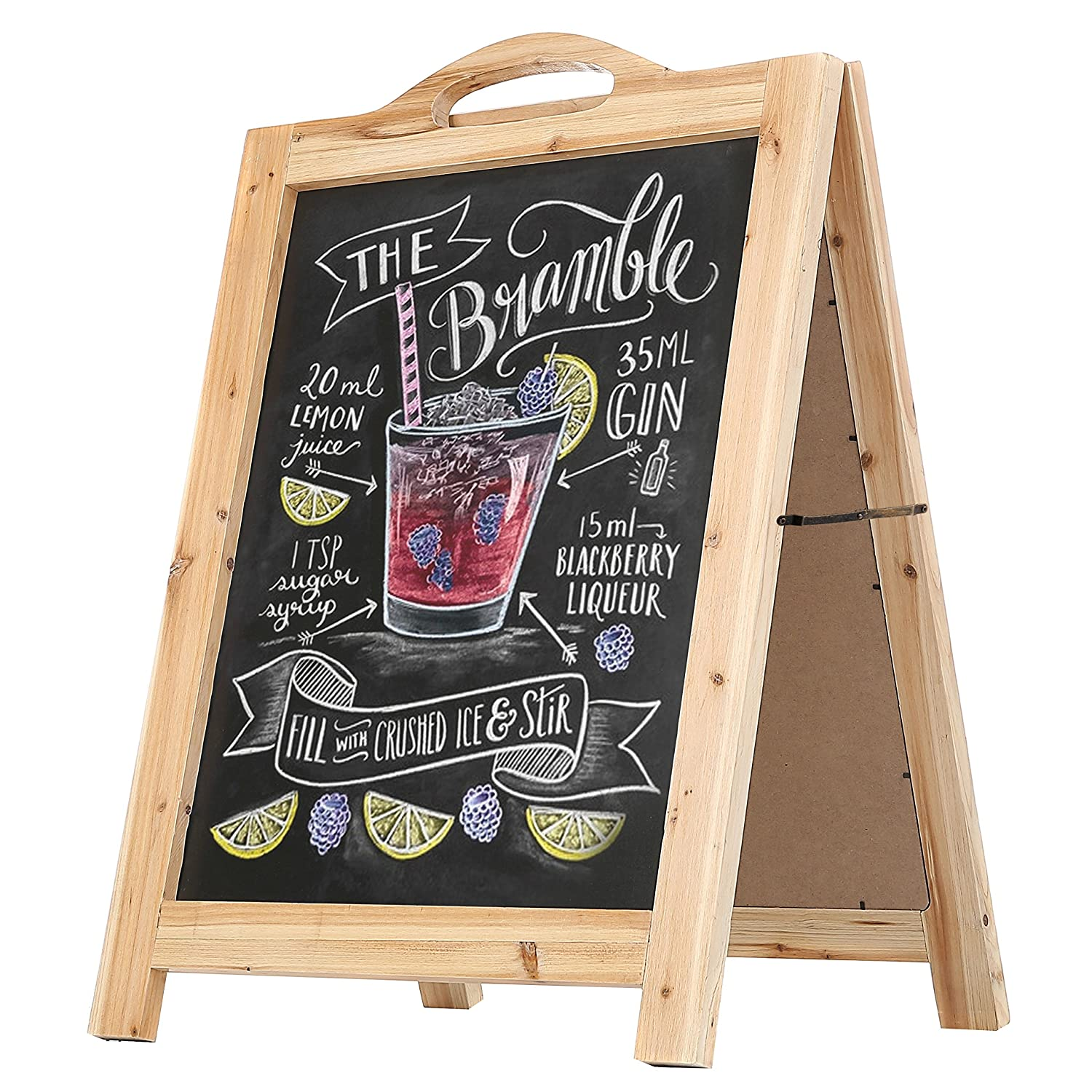 2-Sided Light Brown Wood A-Frame Chalkboard Sign, Sidewalk Cafe Menu Sandwich Board