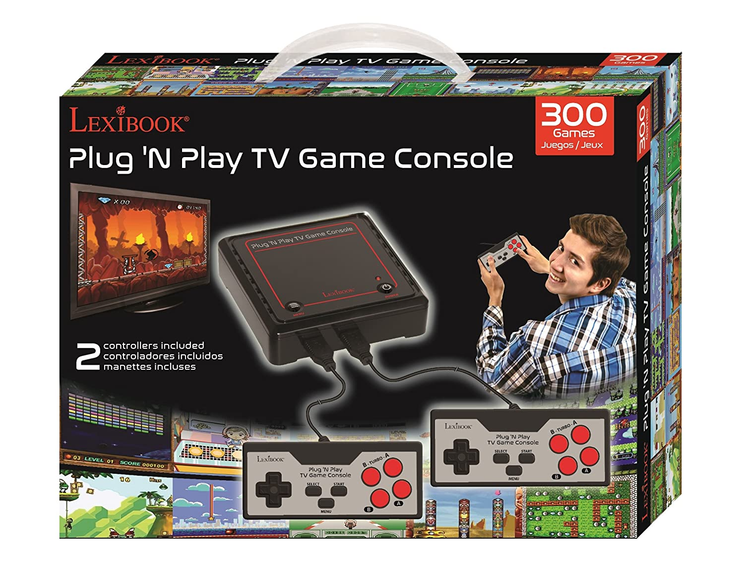 Amazon.com: Lexibook Retro game console, 2 controllers, 300 games, 1 AC/DC adapter, black/red, JG7800: Toys & Games