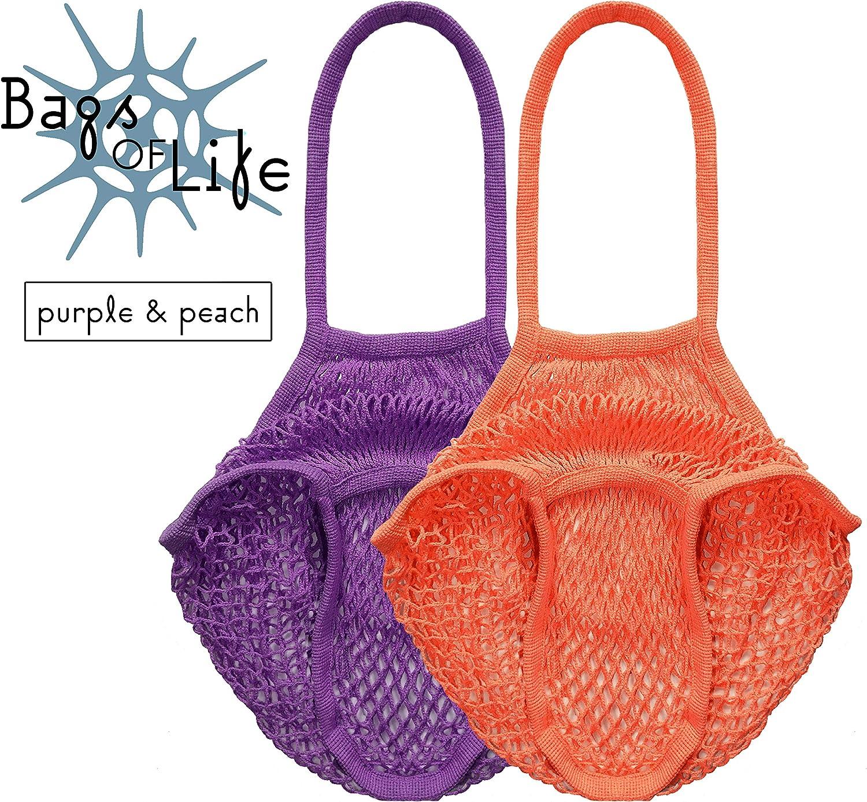 color morado y melocot/ón Bolsa de malla de algod/ón org/ánico reutilizable Bags of Life 100/% biodegradable asas largas embalaje libre de pl/ástico