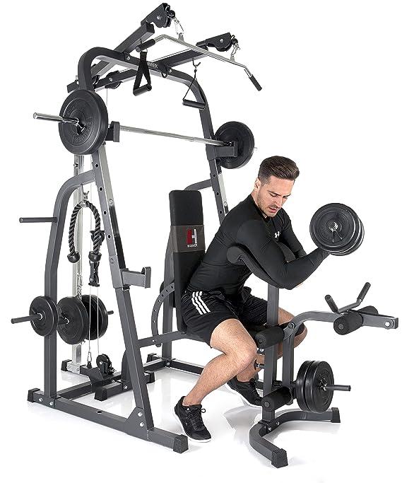 Hammer - Banco Sólido XP ajustable de pesas, con pesas 76kg, color gris / negro: Amazon.es: Deportes y aire libre