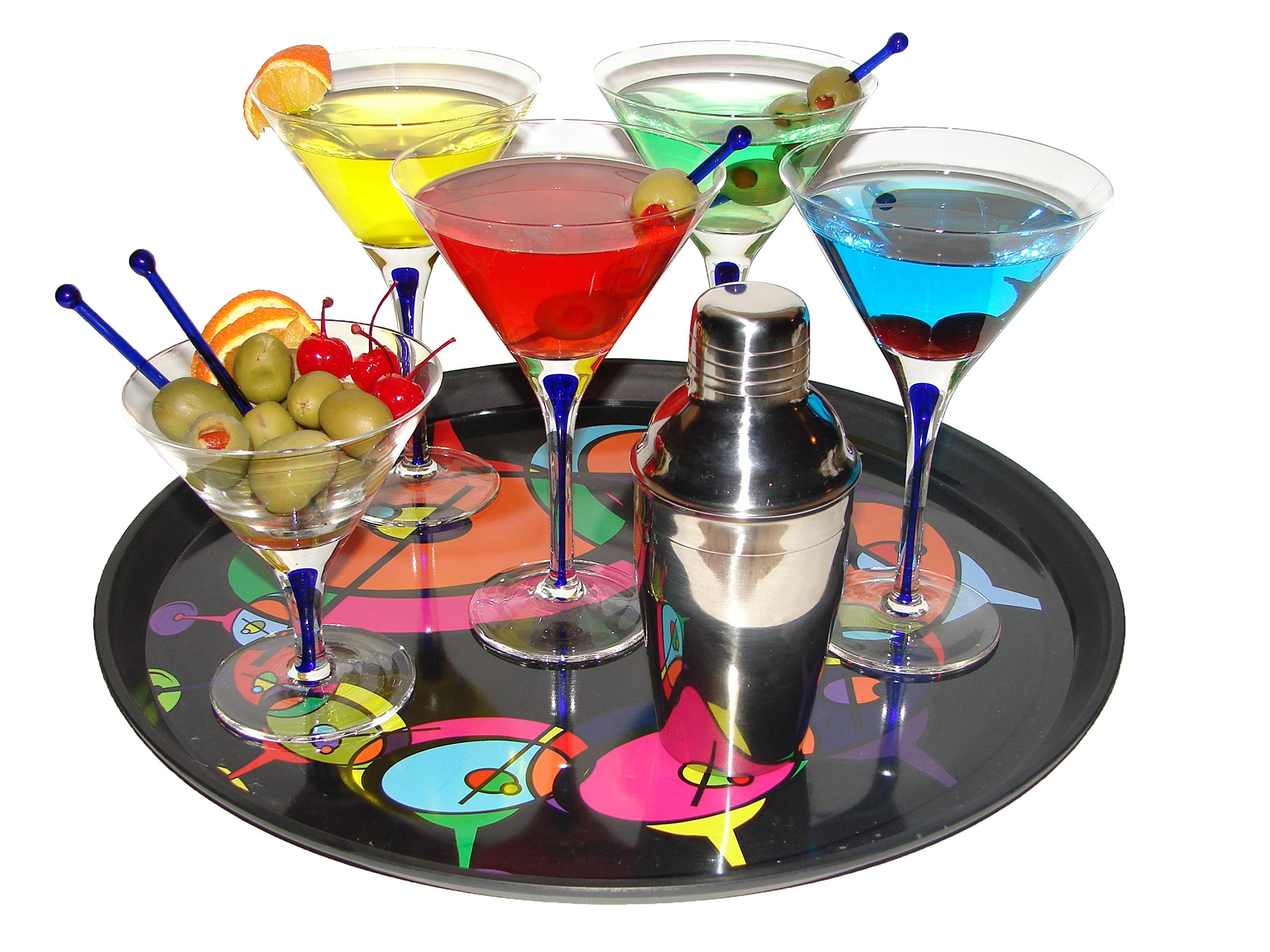 Martini Glasses Shaker Bar Set Travel Gift 16 Piece Handcrafted Blue Infused Crystal Clear Glasses Olive Dish Glass Stir Sticks Cocktail Margarita Drink Mixer Shaker Strainer Commercial Grade Tray