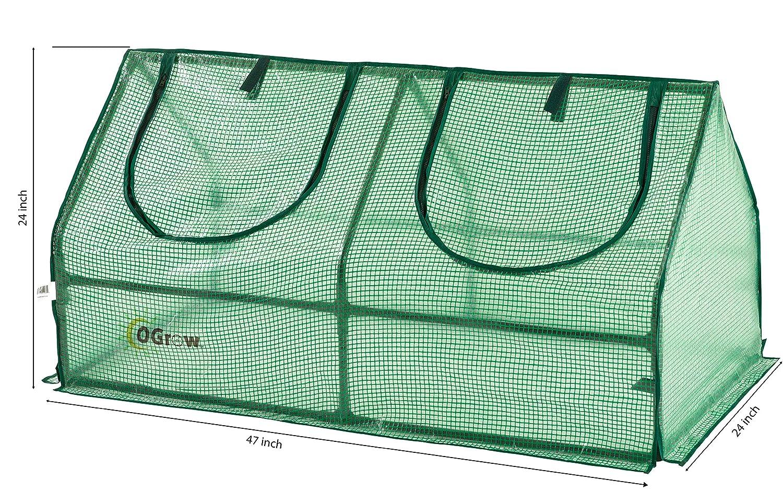 Balcon y Terraza Ogrow Mini Invernadero Semillero de Jard/ín 119,5 cm x 61 cm x 61 cm Invernadero Peque/ño Interior y Exterior de Polietileno Verde