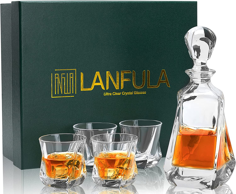New Ranking TOP17 product 5-Piece Whiskey Decanter Set W Crystal Premium LANFULA