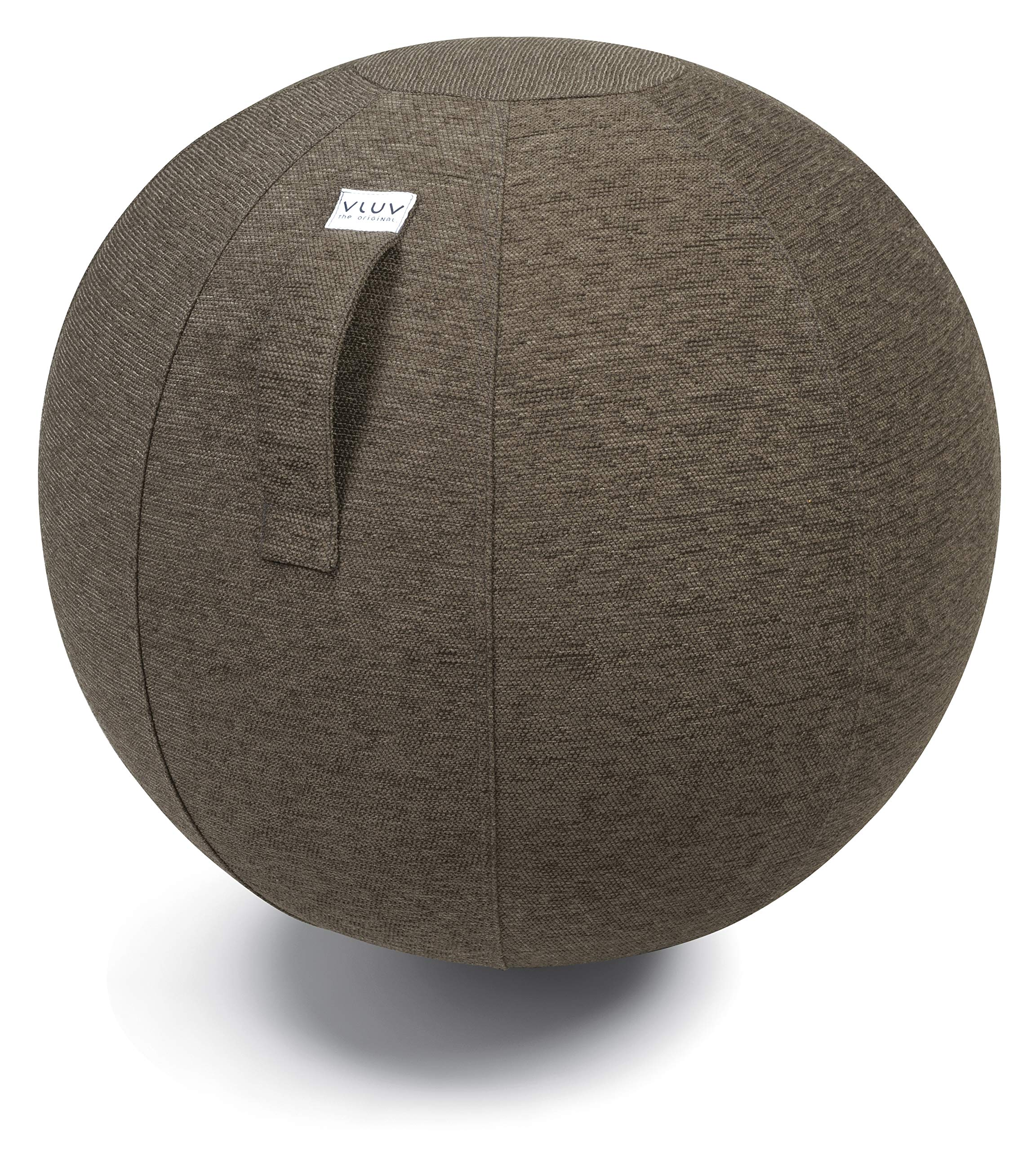 VLUV STOV Premium Quality Self-Standing Sitting Ball with Handle - Home or Office Chair and Exercise Ball for Yoga, Back Stretching, or Gym- Upholstery Fabric Stability Ball (Greige, 29.5'')