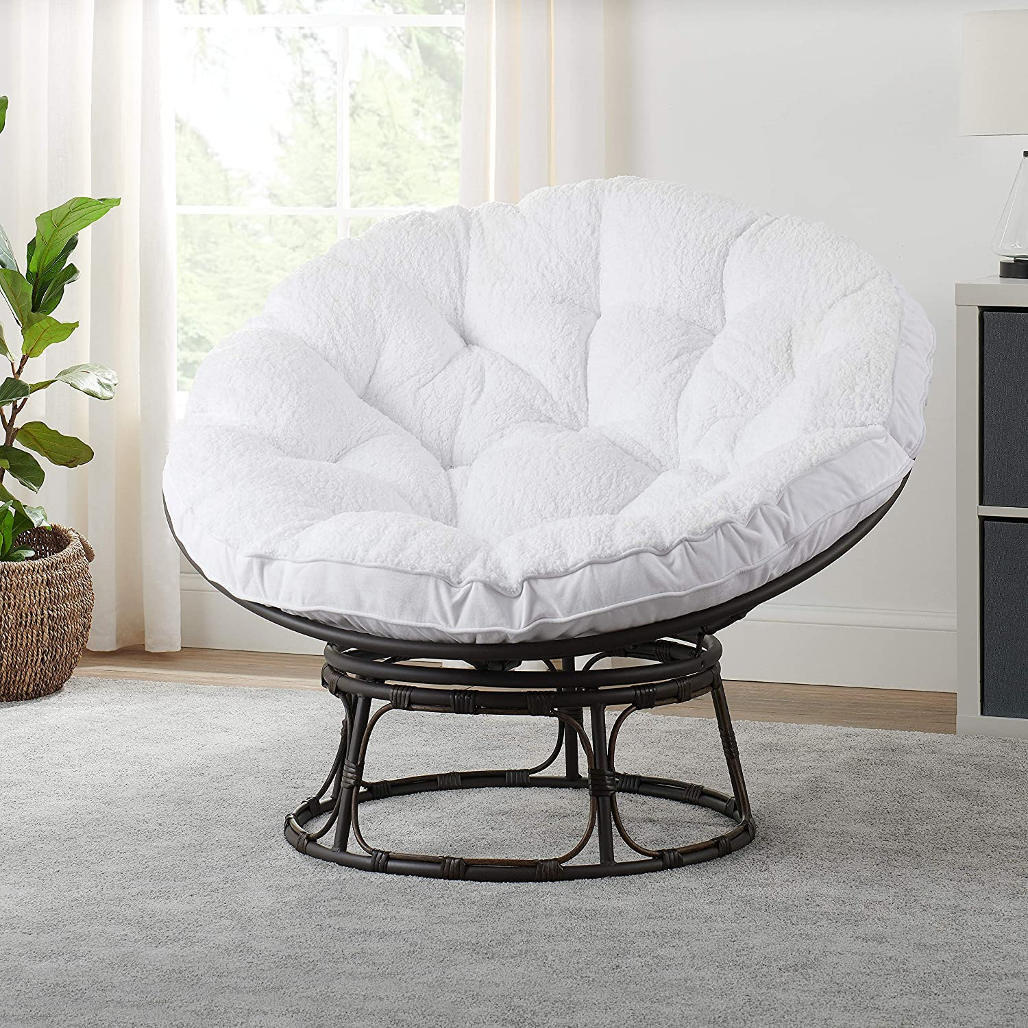 Better Homes & Gardens Papasan Chair with Fabric Cushion (White)