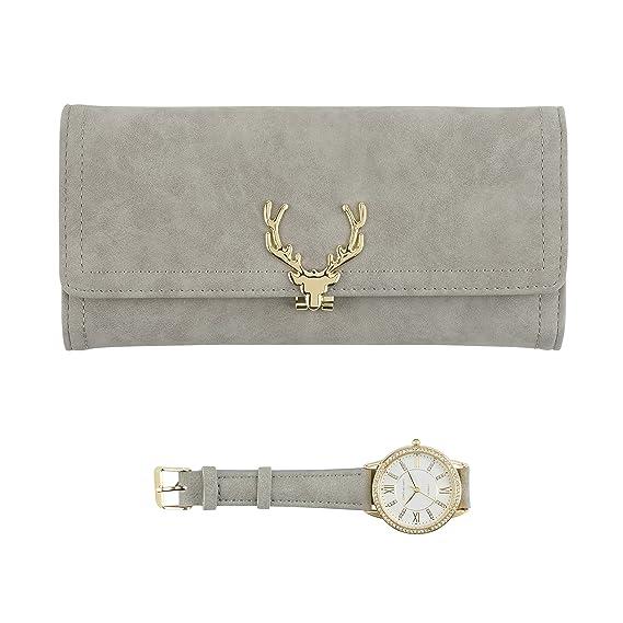 Reloj dorado para mujer con cristales brillantes en el bisel y cartera gris a juego Set de regalo: Amazon.es: Relojes