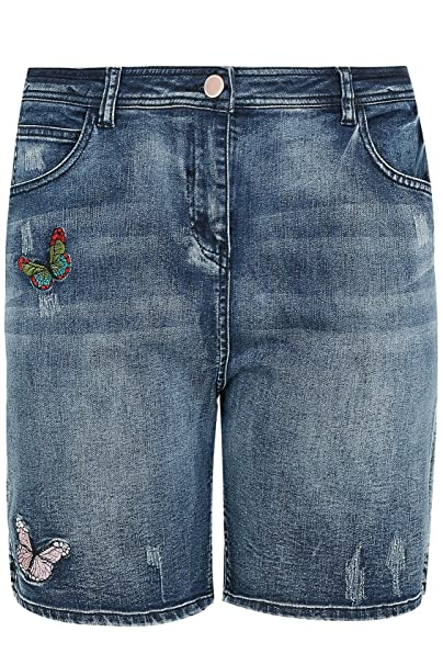 d3374d6f3e9 Womens Indigo Distressed Denim Shorts With Butterfly Embroidery ...