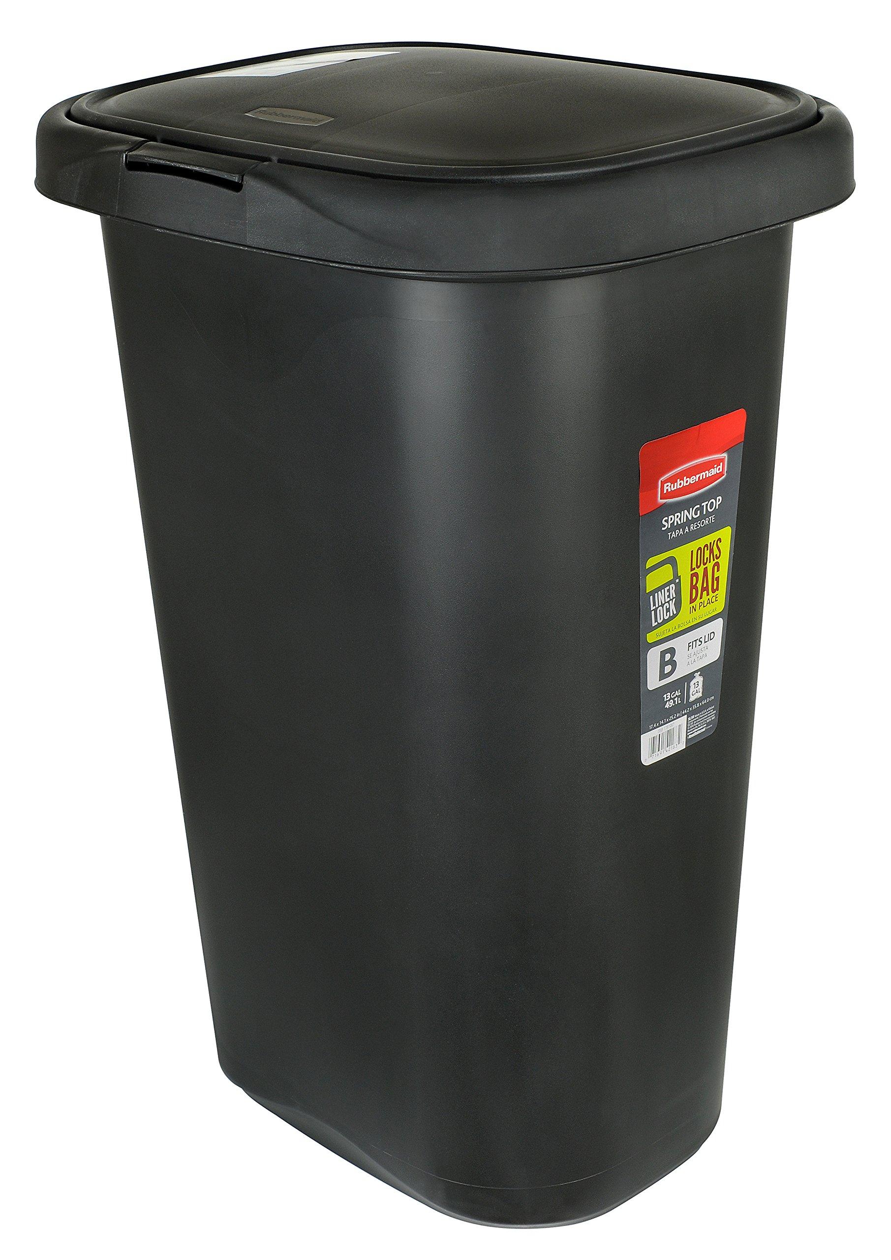 Rubbermaid FG233900WHT Spring Top Wastebasket, 53-Quart, 13 1/4 Gallon, Black