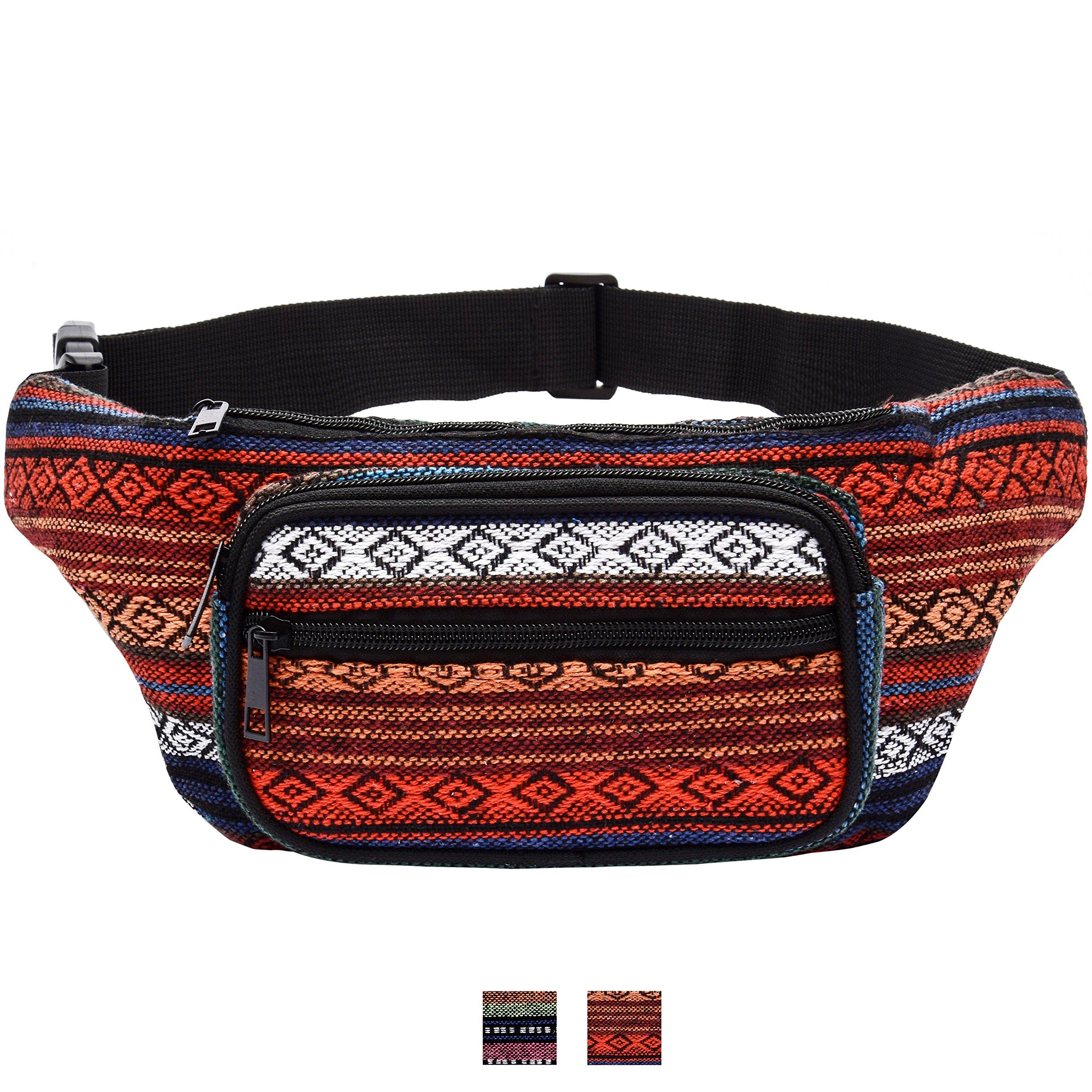 Kayhoma Boho Fanny Pack Stripe Festival Retro Vintage Flat Bum Bags Travel Hiking Hip Bum Waist Bag (Red)