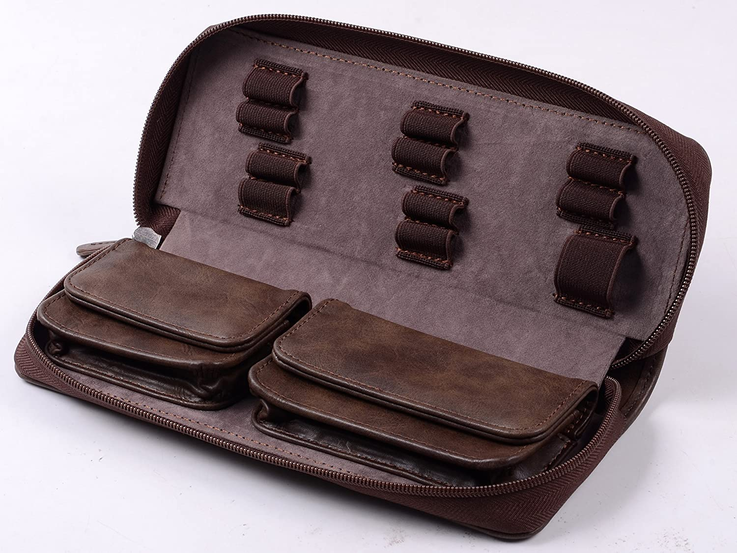 420 and Vape Leather Travel Case - Store Your Batteries Concentrates, Chillums, Toobs, Grinders, and Other 420 Accessories! Also Includes Two Built-in Buttom snap Pockets Tokebox