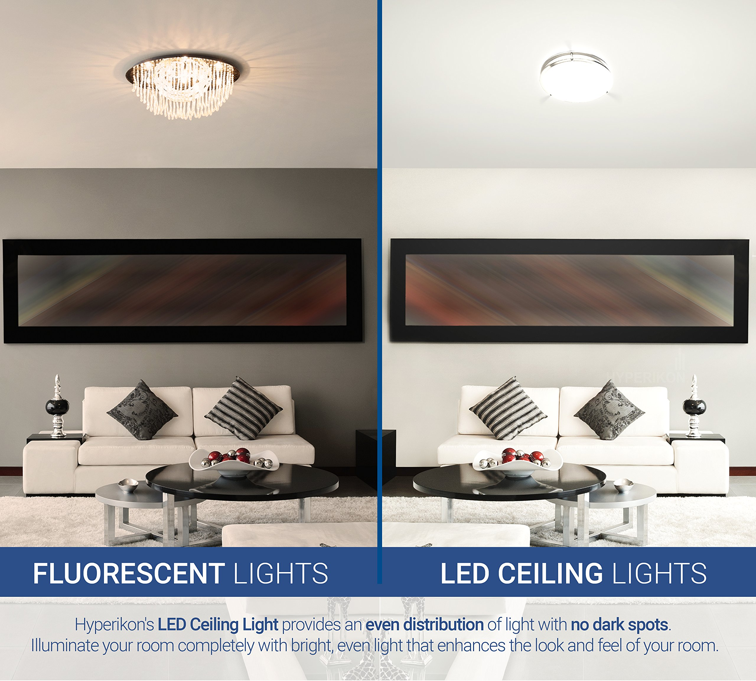 Hyperikon LED Flush Mount Ceiling Light, 14'', 100W equivalent, 1980lm, 4000K (Daylight Glow), 120V, 14-Inch, Dimmable by Hyperikon (Image #5)