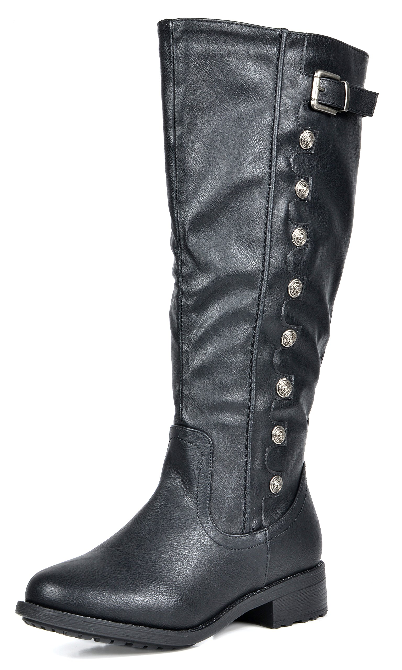 DREAM PAIRS Women's Army Black Pu Leather Knee High Winter Riding Boots Wide Calf Size 9 M US