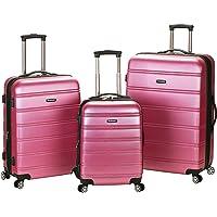 Rockland Luggage Melbourne 3 Piece Abs Luggage Set (Pink/Medium)
