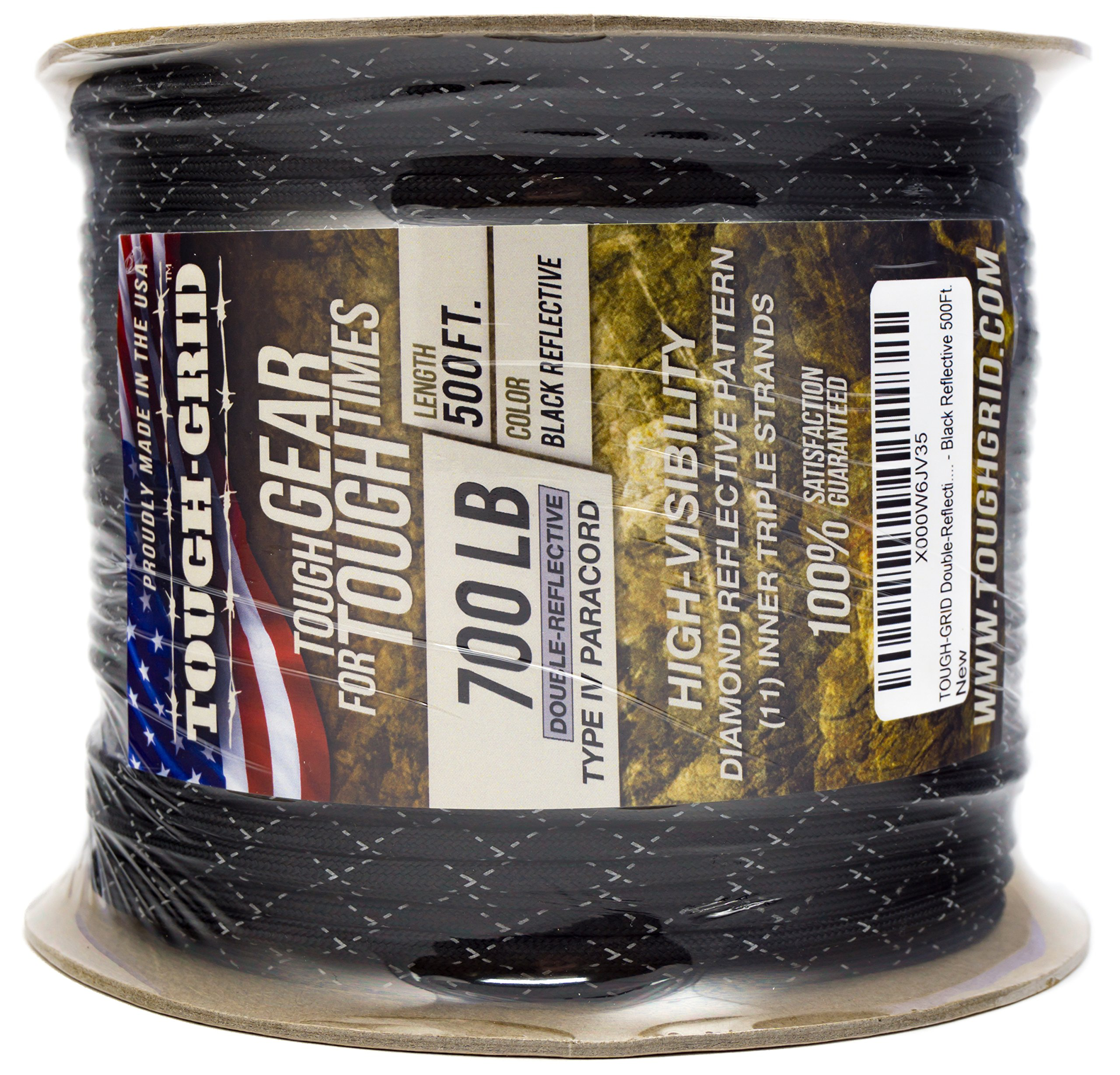 TOUGH-GRID New 700lb Double-Reflective Paracord/Parachute Cord - 2 Vibrant Retro-Reflective Strands for The Ultimate High-Visibility Cord - 100% Nylon - Made in USA. - 100Ft. Black Reflective by TOUGH-GRID (Image #6)