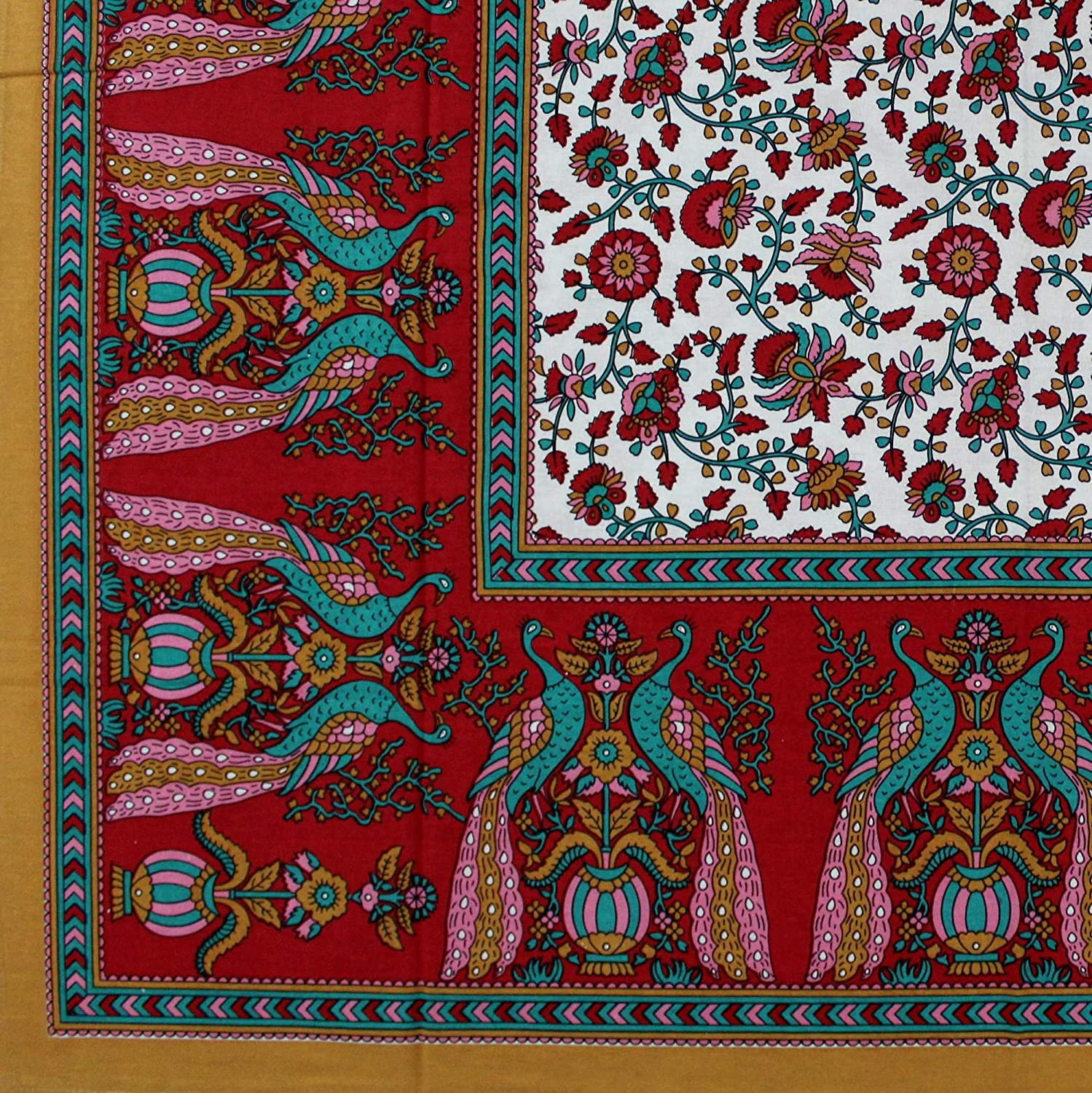 India Arts Cotton Peacock Floral Tapestry Wall Hanging Coverlet Bedspread Tablecloth Square Beach Sheet Thin Bed Sheet Red Queen 106 x 106 inches