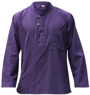 Violett hanf baumwolle dick großvater shirt,hippy boho ohne kragen bequem  hemd - M
