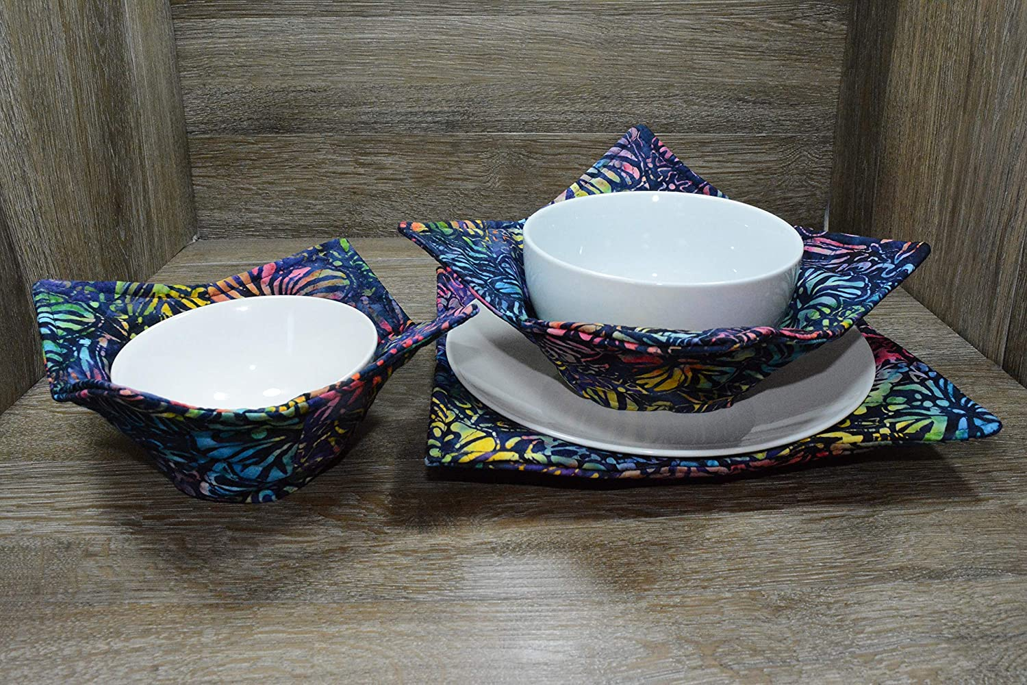 Set of 3 1 Small Bowl Cozy Microwave Bowl Cozies Tropical Flowers 1 Medium Bowl Cozy and 1 Dinner Plate Cozy