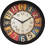 IT2M Round Plastic Wall Clocks (30 cm x 30 cm x 4 cm, Black, JIN18)