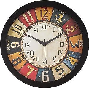 IT2M Round Plastic Wall Clocks (30 cm x 30 cm x 4 cm, Black, JIN18)