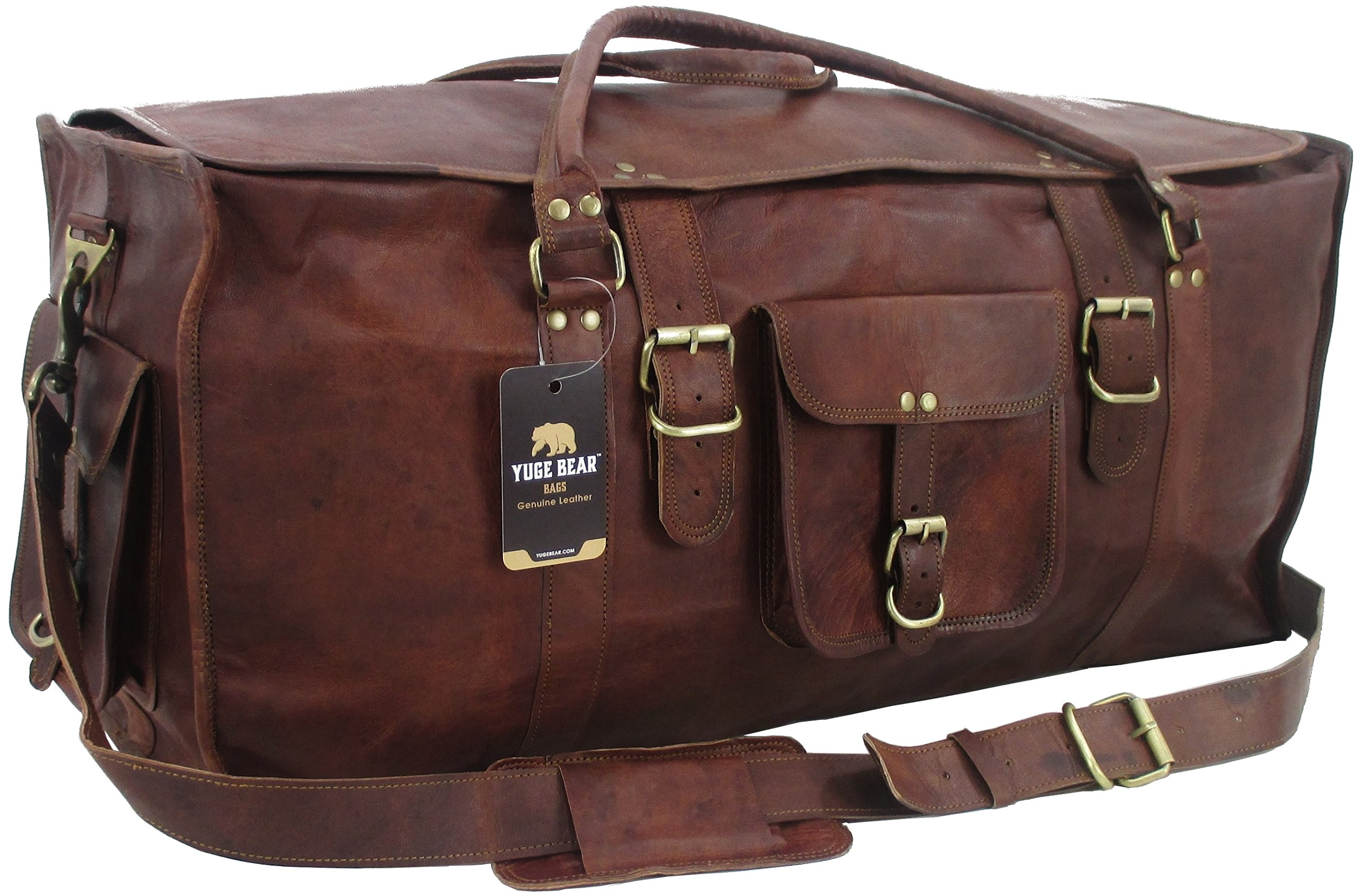 Yuge Bear 28'' FS1 Vintage Style Genuine Leather Oversized Flap Duffel Travel Bag