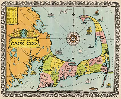 Amazon.com: Historic 1932 Walter M. Gaffney Map of Cape Cod ... on