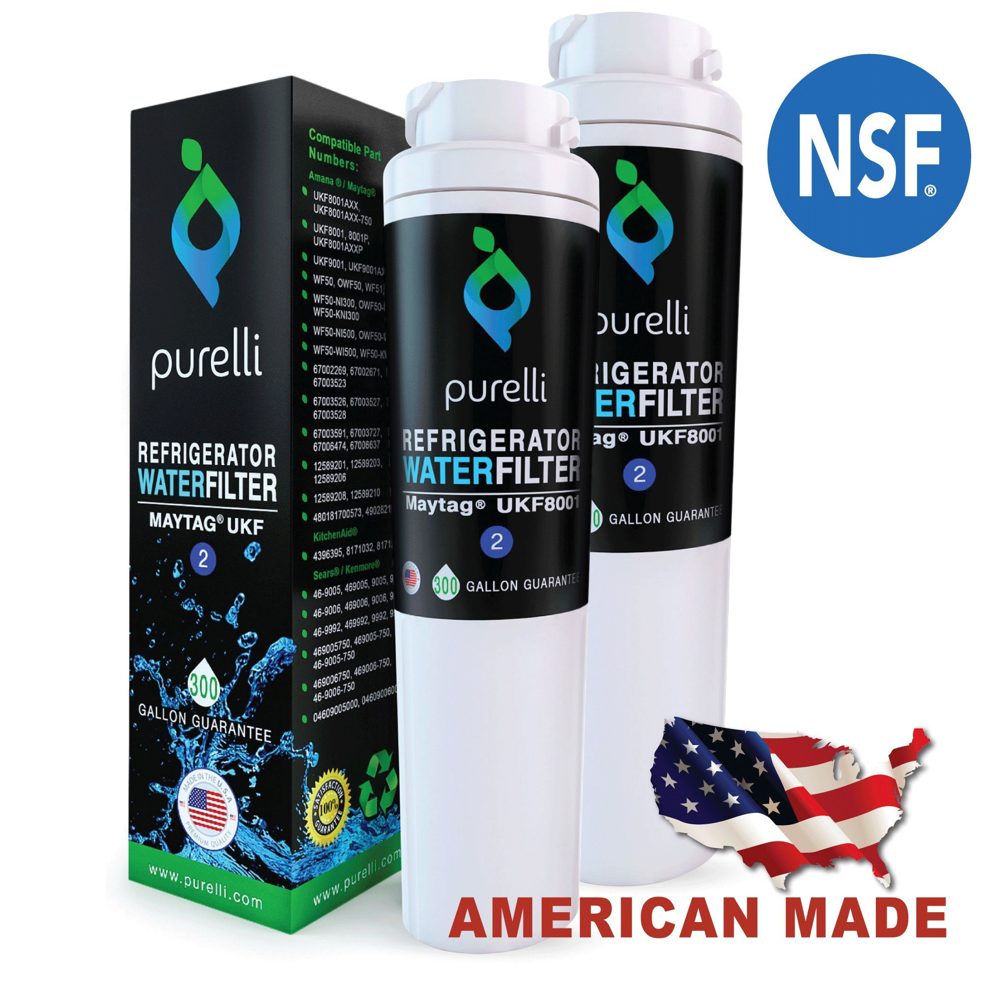 Purelli UKF8001 2-Pack Refrigerator Water Filter – Compatible Replacement for Maytag UKF8001, EDR4RXD1, FILTER 4, UKF8001AXX, Whirlpool 4396395, Puriclean II, Kenmore 46 9006 by Purelli