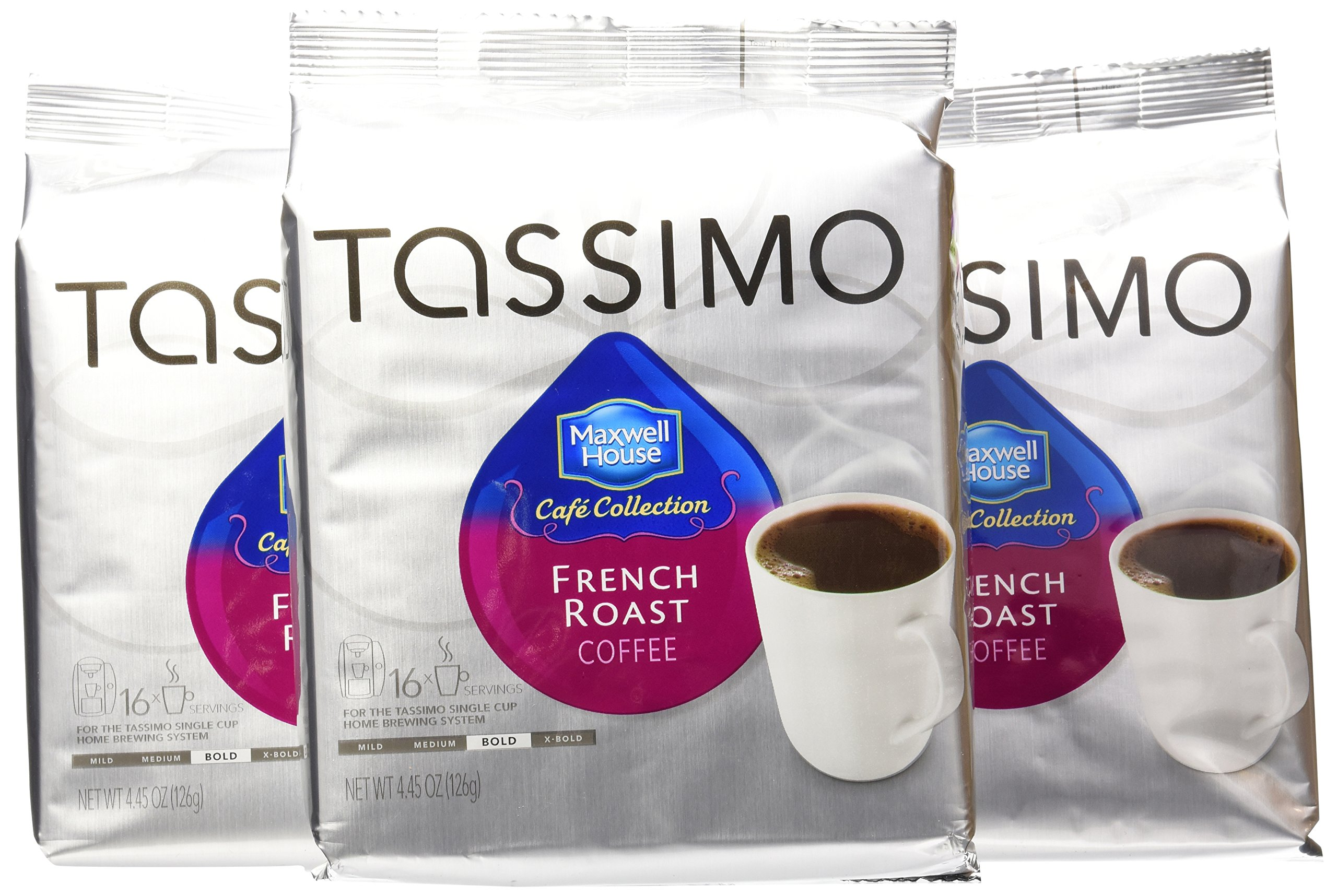 Tassimo MAXWELL HOUSE Cafe Collection, French Roast Coffee, Bold, 16-Count T-Discs, (Pack of 3)