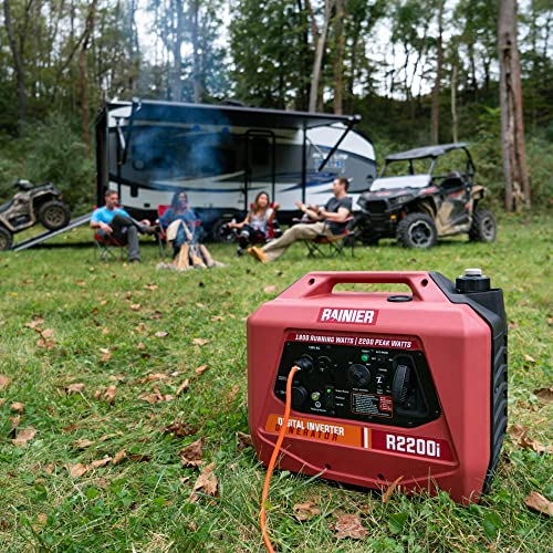 Rainier R2200i Super Quiet Portable Power Station Outdoor Inverter Generator – 1800 Running 2200 Peak – Gas Powered – CARB Compliant