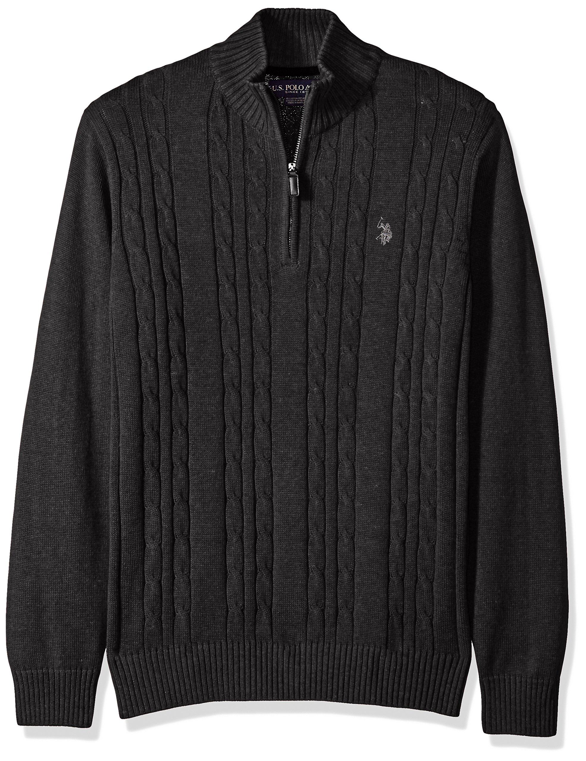 U.S. Polo Assn. Men's Cable Knit 1/4 Zip Sweater, Charcoal Heather, Medium by U.S. Polo Assn.