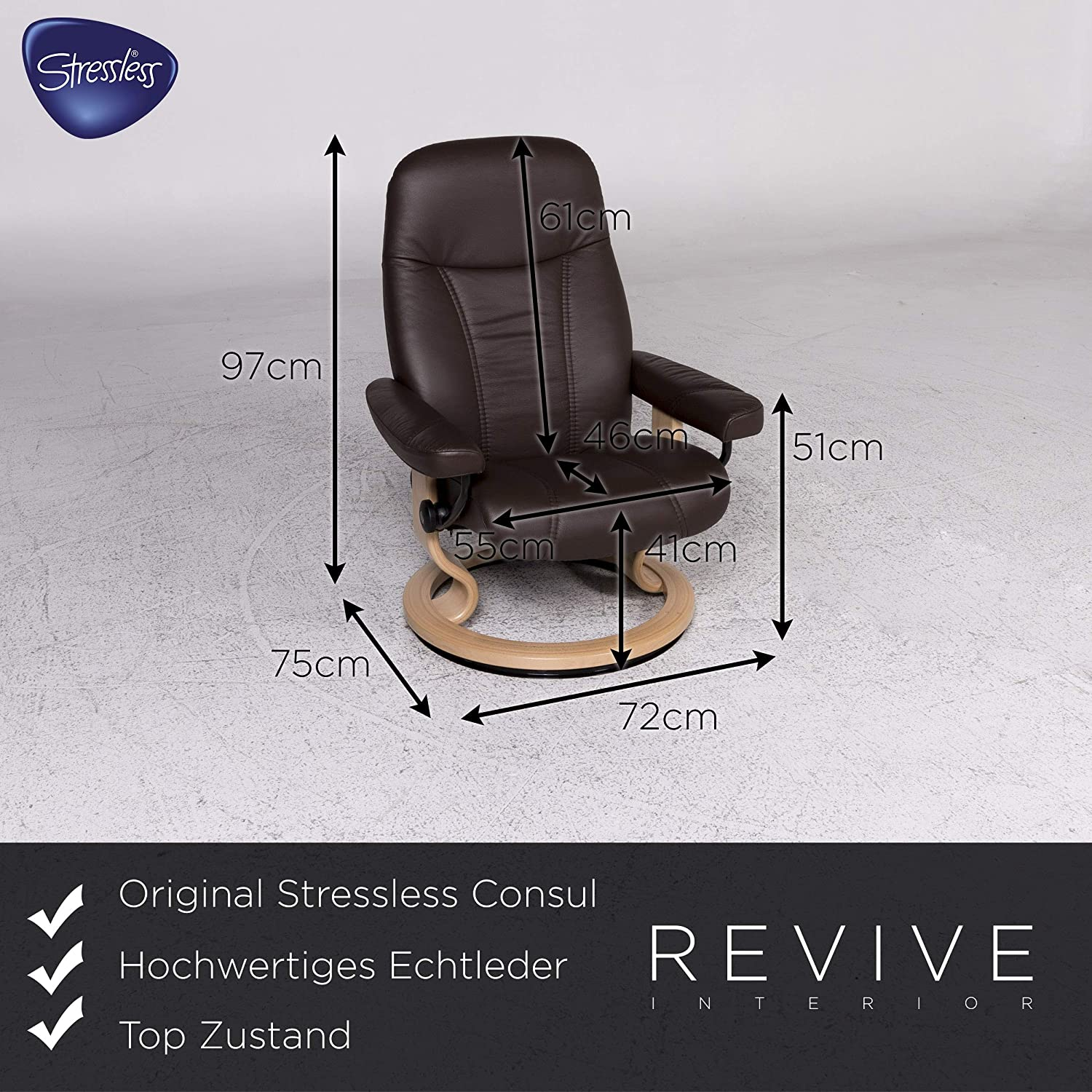 Stressless Consul Designer Leather Armchair Brown Incl ...