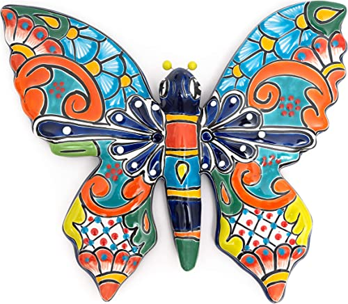 Jayde N' Grey Talavera Pottery Hand Painted Ceramic Garden Creatures Frog Butterfly Dragonfly Animals Butterflies Butterfly Large 14.5″ x 12.5″